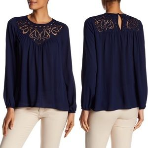 Parker Embroidered Navy Blue Long Sleeve Blouse M